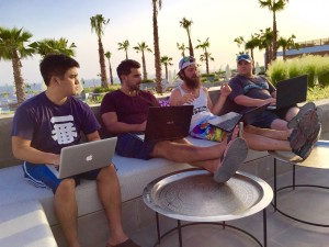 Crestani and his top lieutenants working at a team retreat in Morocco